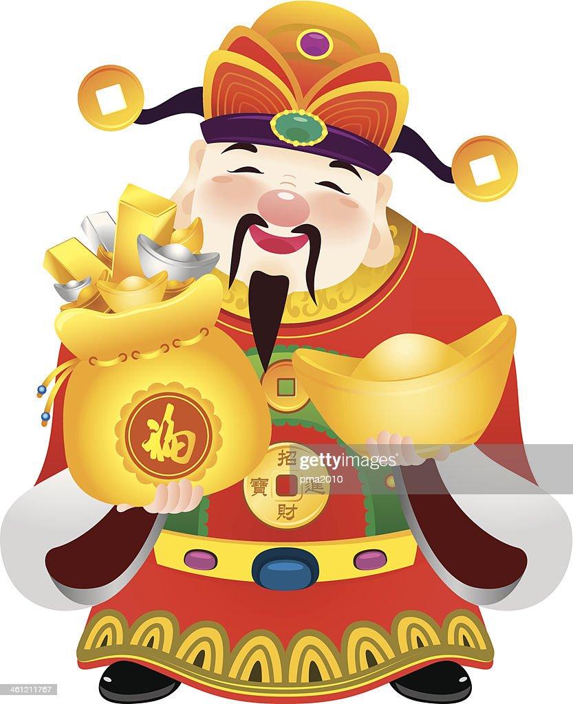 Cartoon of the Chinese prosperity God