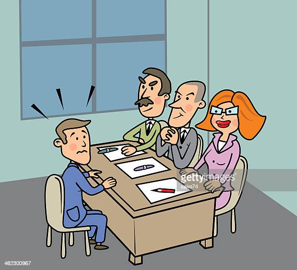 a cartoon of three business people interviewing one man - job interview stock illustrations, clip art, cartoons, & icons