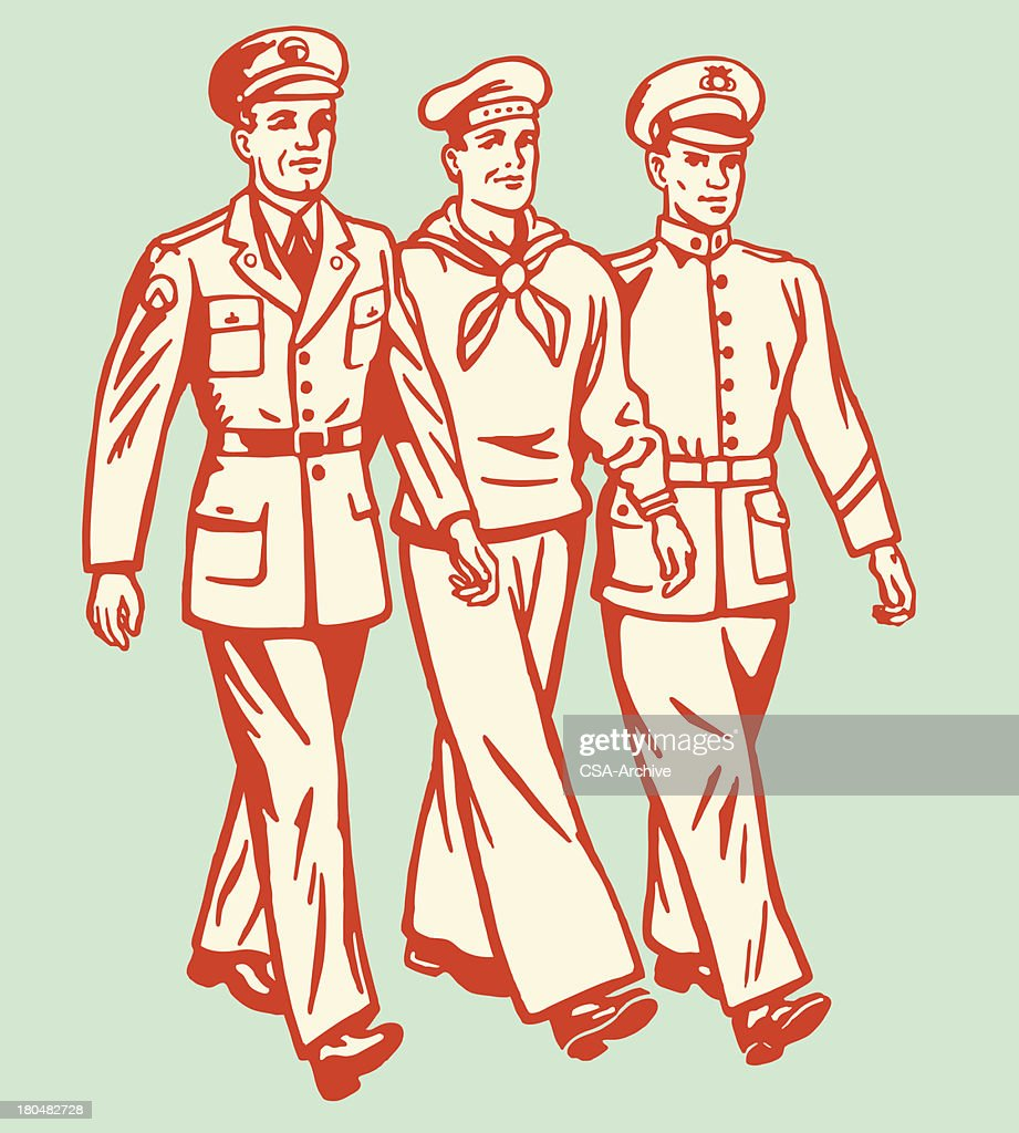 Cartoon of three military men walking on pale background