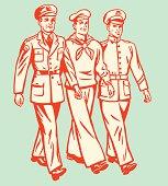 Cartoon of three military men walking on pale background