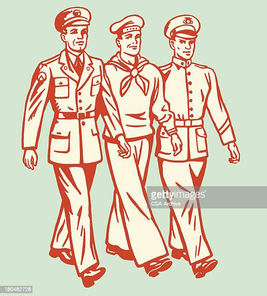 cartoon of three military men walking on pale background - marines military stock illustrations, clip art, cartoons, & icons