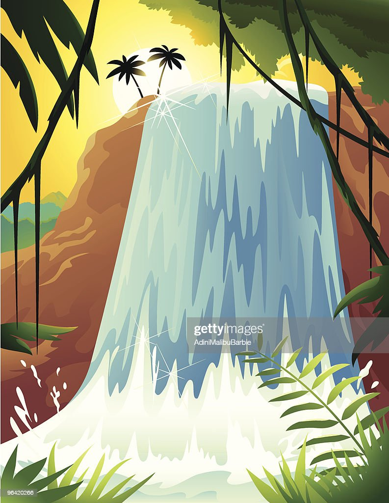 Cartoon of Tropical Waterfall with Palm Trees and Ferns