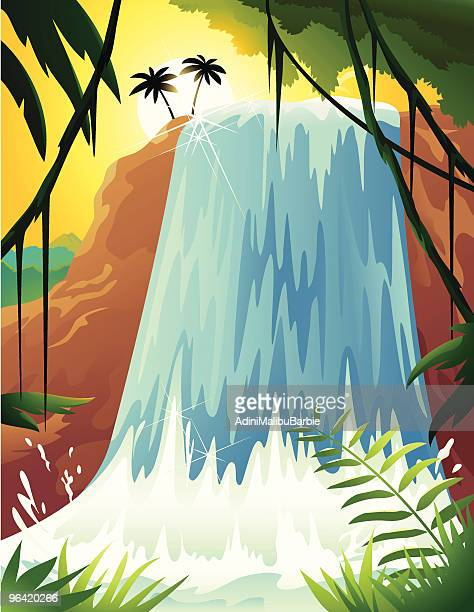 cartoon of tropical waterfall with palm trees and ferns - liana stock illustrations, clip art, cartoons, & icons