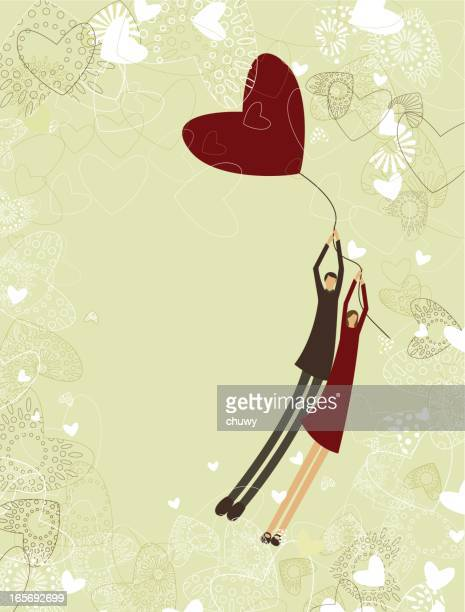 Cartoon of two lovers flying with a heart balloon