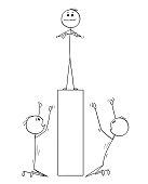 Cartoon of Two Men or Businessmen Worshiping Man on Pedestal