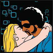 Cartoon of woman kissing a man wearing sunglasses