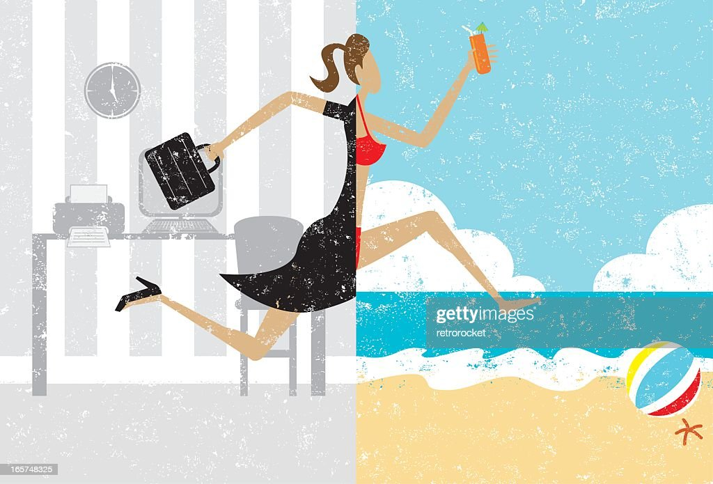 Cartoon of woman leaping from office to beach
