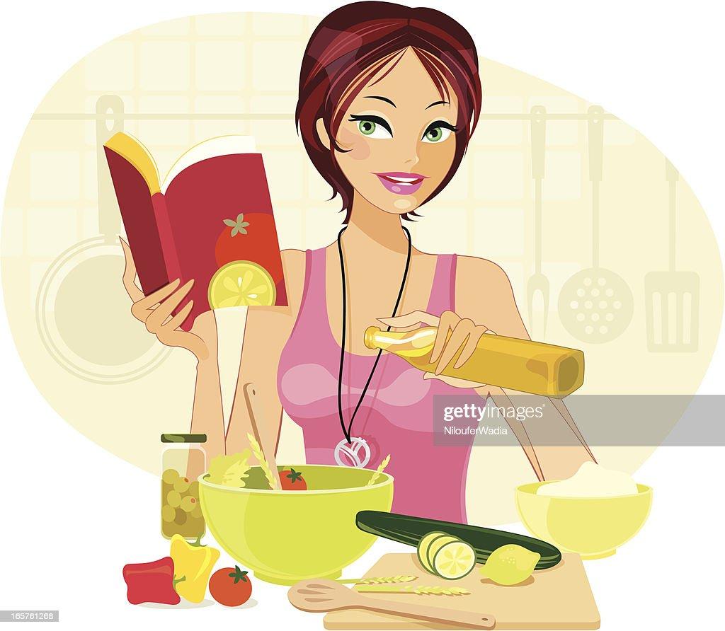 Cartoon of young woman making salad : stock illustration
