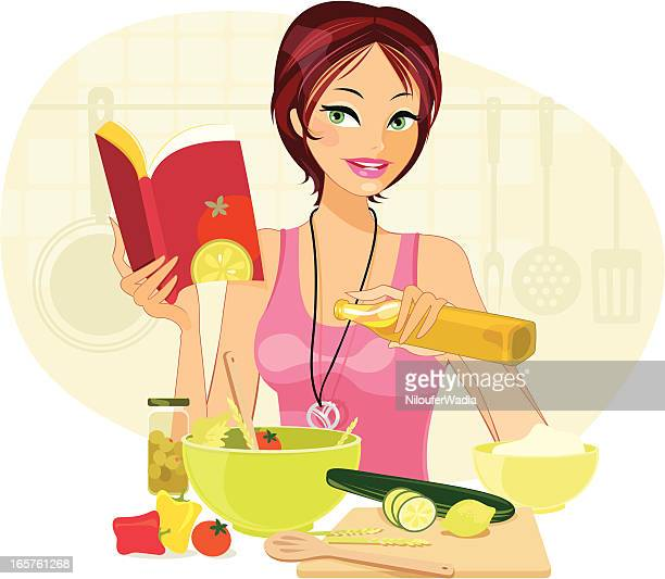 Cartoon of young woman making salad