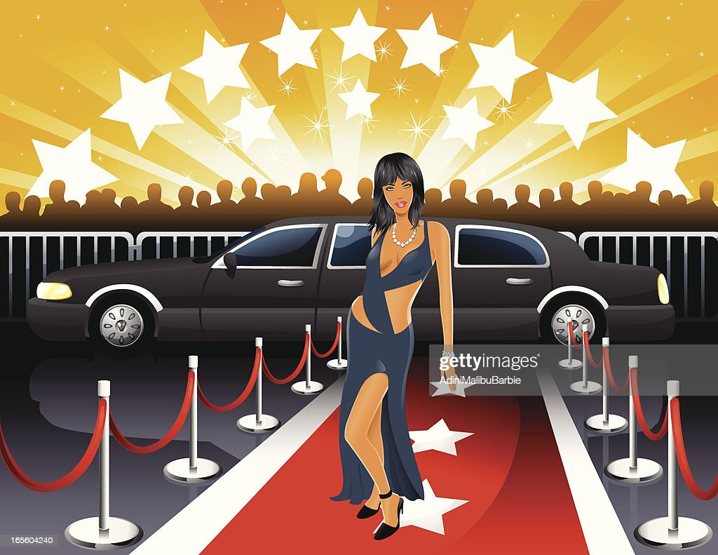 Cartoon of Young Woman Walking Red Carpet from Limousine : stock illustration