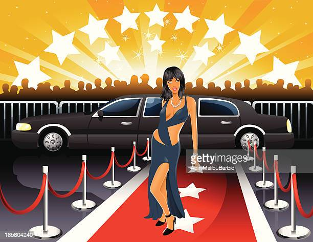 Cartoon of Young Woman Walking Red Carpet from Limousine