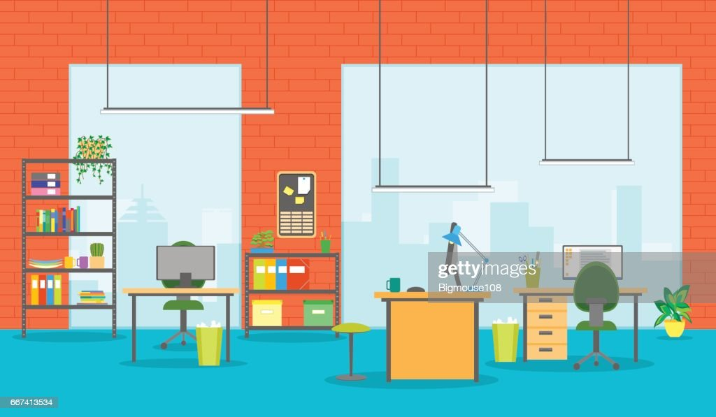 Cartoon Office Room Interior. Vector