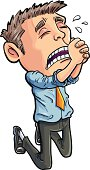 Cartoon office worker begging for his job. Isolated