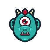 Cartoon Ogre or Cyclops Monster Head Illustration