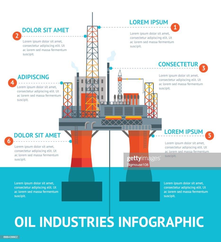 Cartoon Oil Industry Infographic Menu. Vector