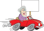 Cartoon old lady driving a sports car and holding a sign.