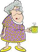 Cartoon old lady holding a mug.