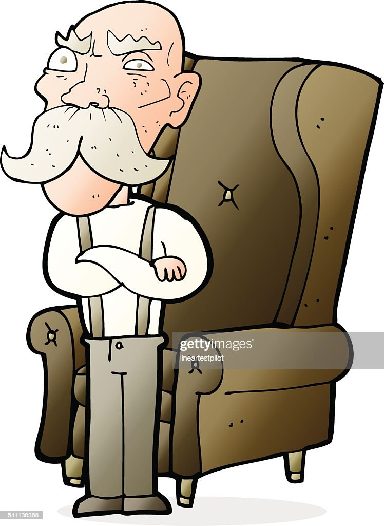 Cartoon Old Man And Chair Vector Art | Getty Images