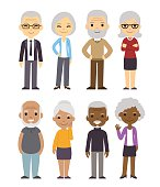 Cartoon old people set