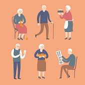 Cartoon old people spending leisure time