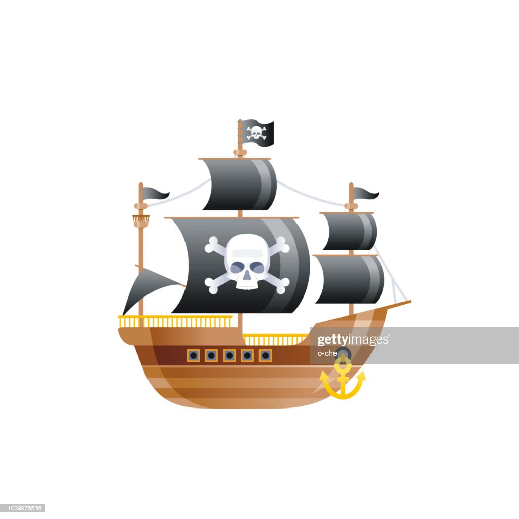 Cartoon old pirat ship with black sails and scull, vintage icon. Retro galleon for logo, sea travel, cruise and water transport design. Flat vector illustration isolated on white background.