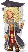 Cartoon old rich medieval blond judge