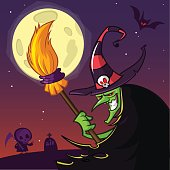 Cartoon old witch in hat with a broom. Halloween illustration