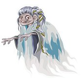Cartoon old witch with seaweed in hair, isolated