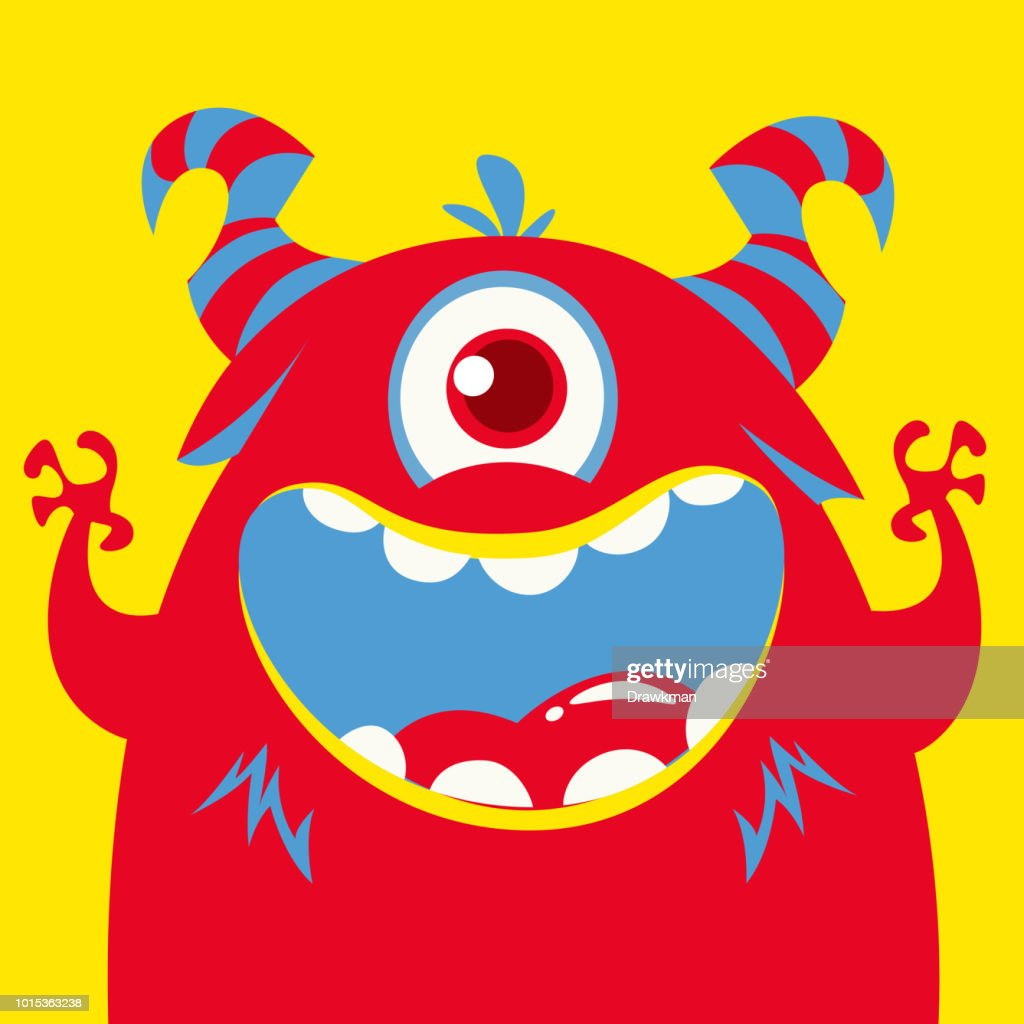 Cartoon one eyed red monster. Halloween monster character vector illustration