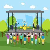 Cartoon Open Air Festival and Landscape Background. Vector