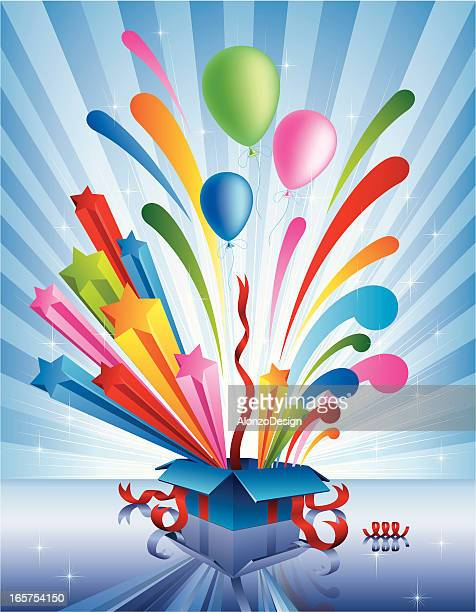 Cartoon opened gift box multicolored things popping out