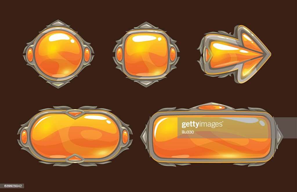 Cartoon orange decorative buttons