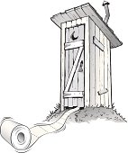 Cartoon outhouse with toilet paper rolling out of it