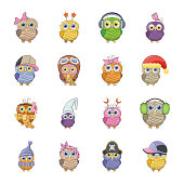 Cartoon Owl flat icons
