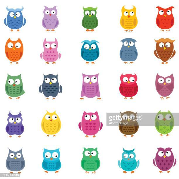 cartoon owl icons - owl stock illustrations, clip art, cartoons, & icons