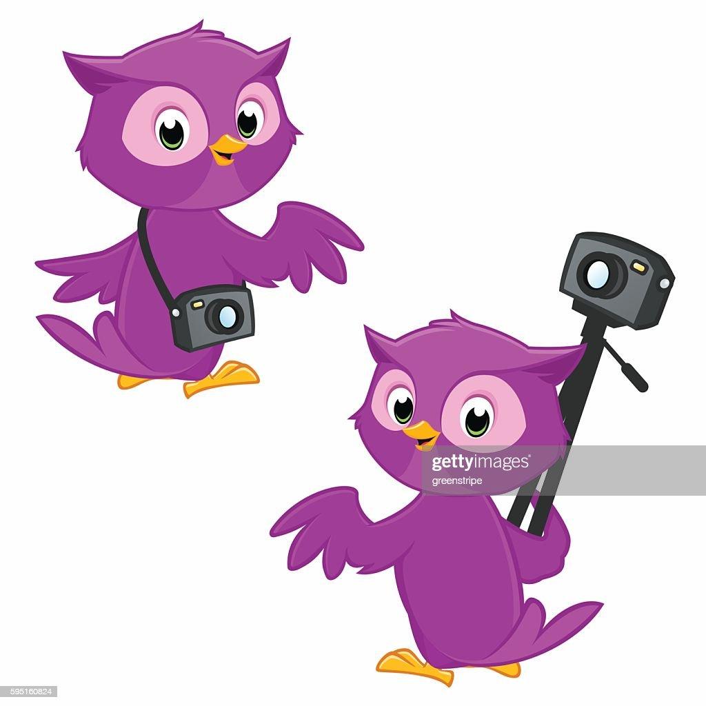 Cartoon Owl Photographer