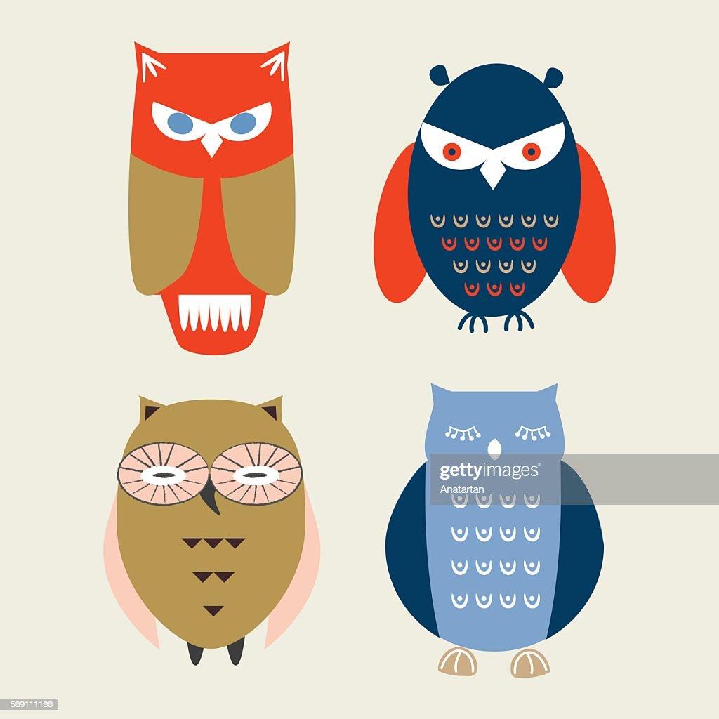 Cartoon owls.