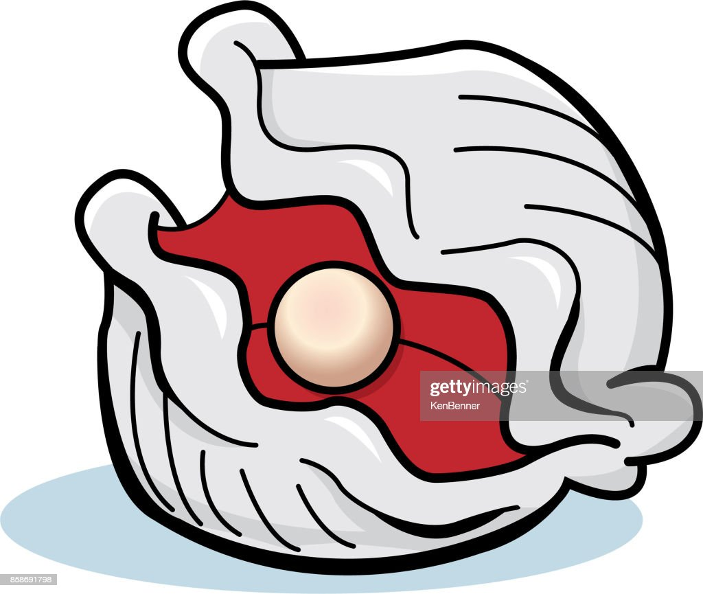 Cartoon oyster with a pear.
