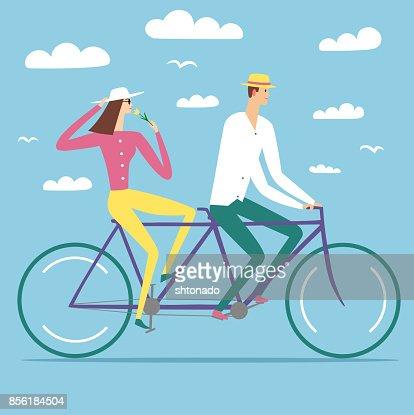 Paire de bande dessinée dans l'amour, faire du vélo tandem : Clipart vectoriel