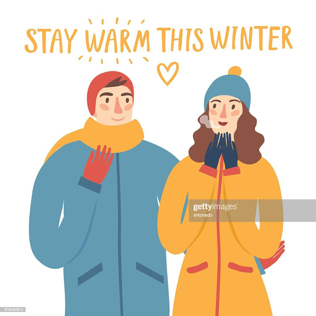 Cartoon pair in winter clothes illustration