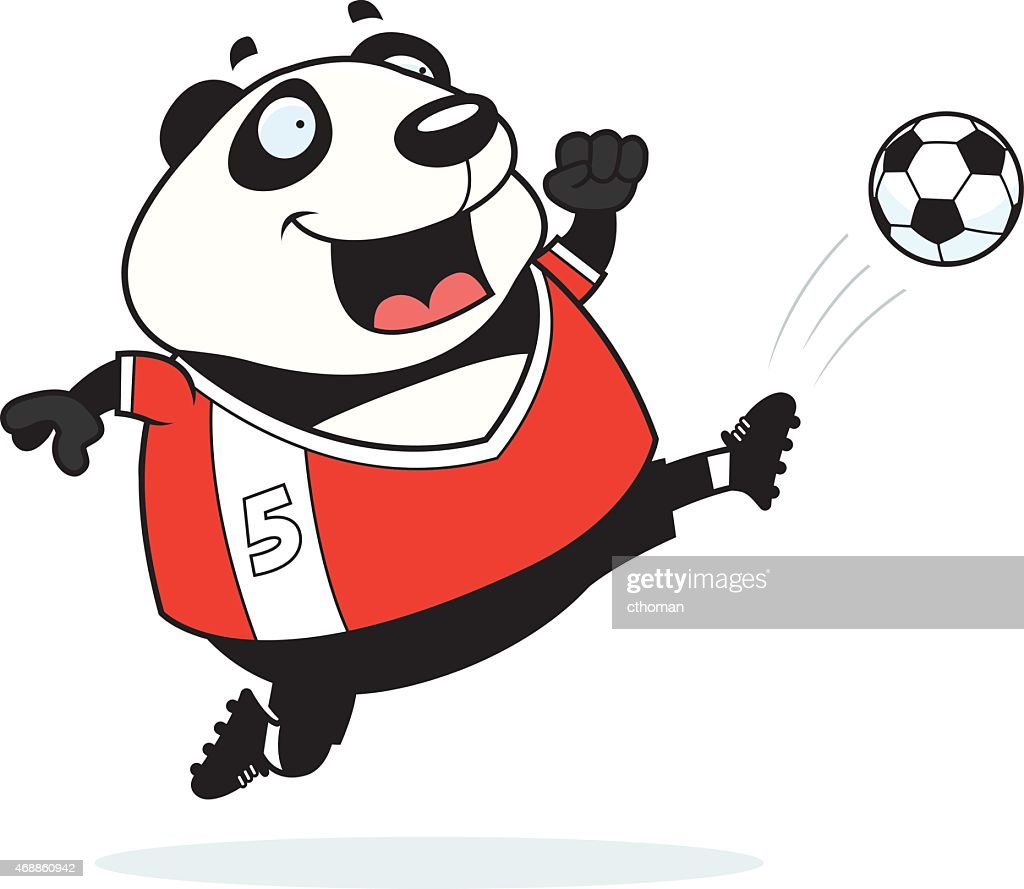 Cartoon Panda Soccer Kick