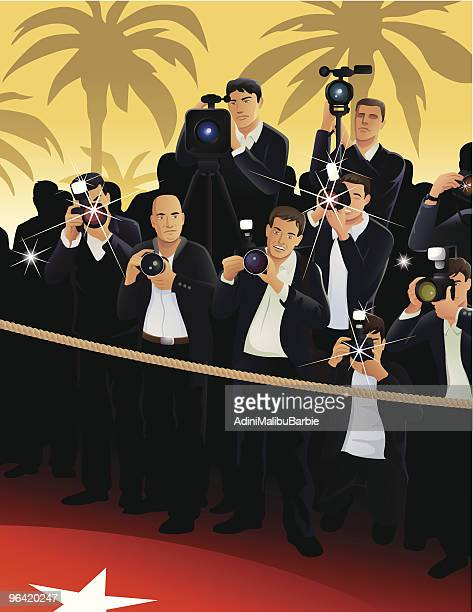 Cartoon Paparazzi on Red Carpet with Palm Tree Background