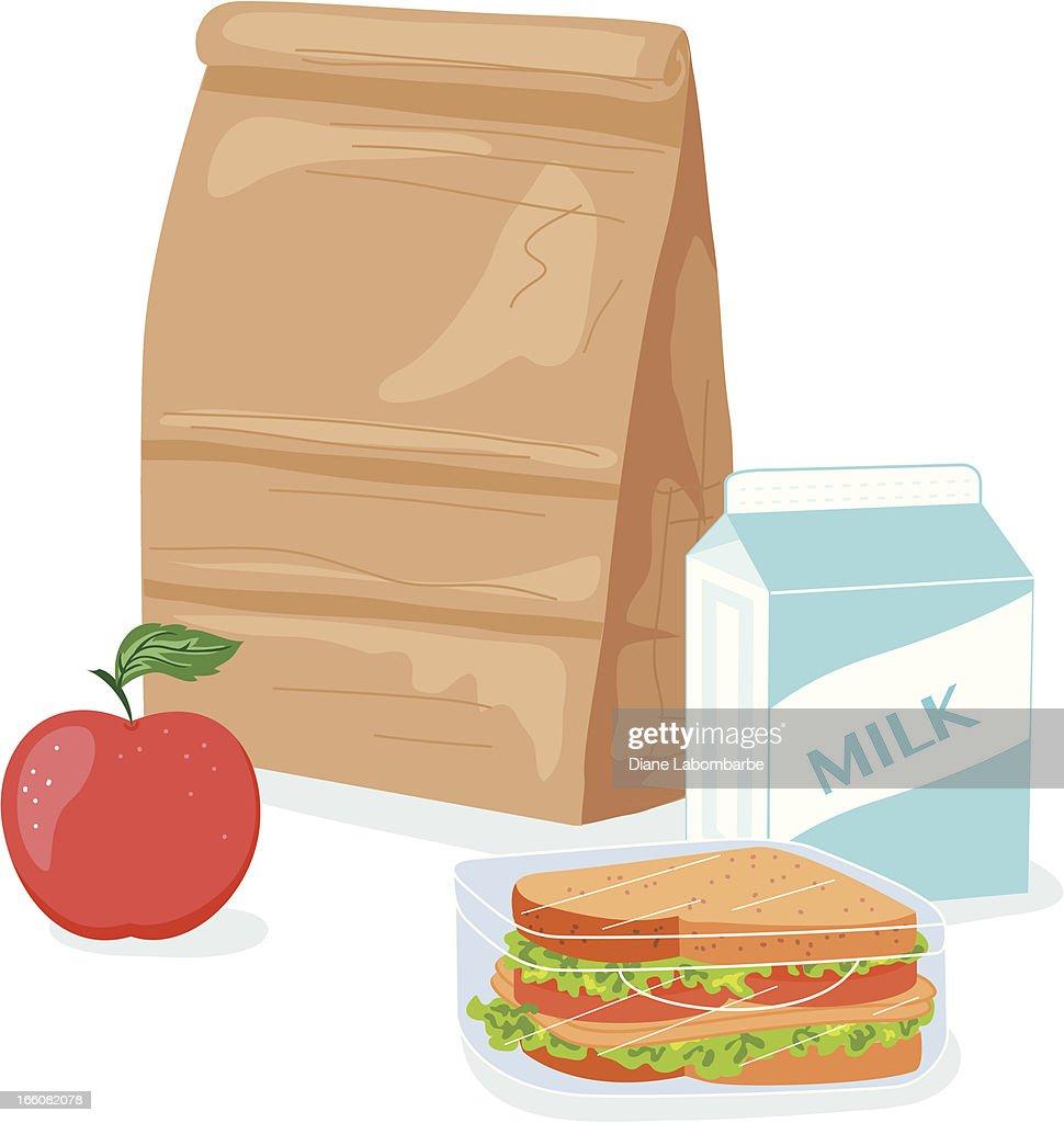 Cartoon Paper Bag Lunch Illustration
