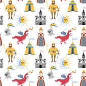 Cartoon pattern with medieval characters.