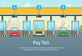Cartoon Pay Road Toll Card Poster and Text. Vector