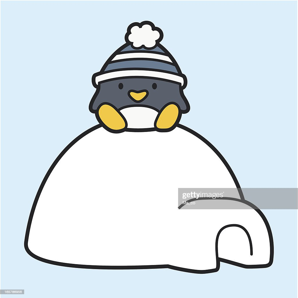 Cartoon Penguin Sitting On An Igloo Vector Art | Getty Images