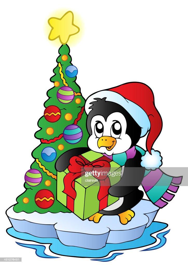 Weihnachtsbaum Comic.Comic Pinguin Mit Weihnachtsbaum Vektorgrafik Getty Images