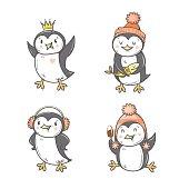 Cartoon penguins set.