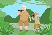 cartoon people go adventure