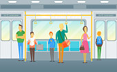 Cartoon People in Subway Train Card Poster. Vector